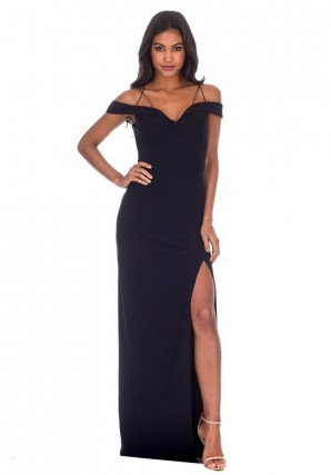 Women's Navy Strappy Off The Shoulder Side Split Maxi Dress