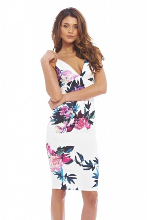 Women's Floral Plunge Front Cross Back Midicream Dress