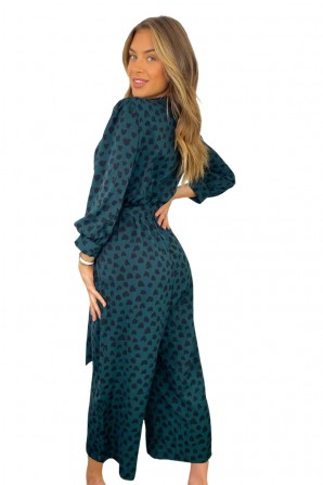 Women's Teal Heart Printed Belted Jumpsuit