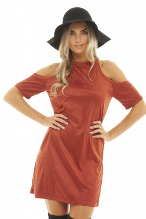 Women's Cold Shoulder Suede  Rust Dress