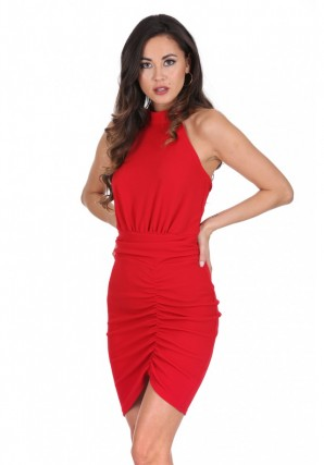 Women's Red Ruched Backless Choker Neck Dress