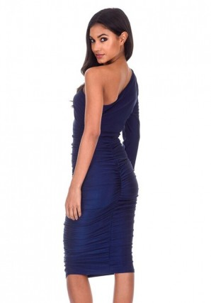 Women's Navy One Sleeve Slinky Midi Dress