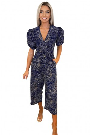 Women's Navy Printed Puff Wrap Over Jumpsuit