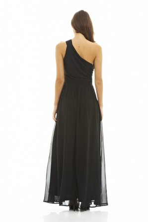 Women's Asymmetric Embellished Maxi Black  Dress