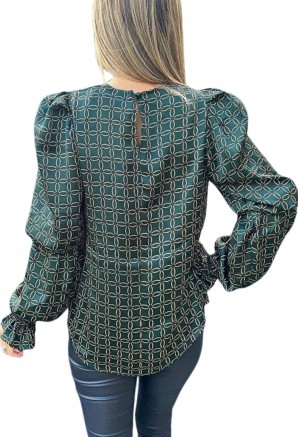 Women's Teal Chain Printed Double Puff Sleeve Top