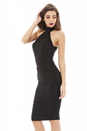 Women's Slinky T Bar Bodycon  Black Dress