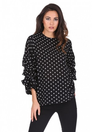 Women's Black Polka Dot Ruffle Sleeve Top
