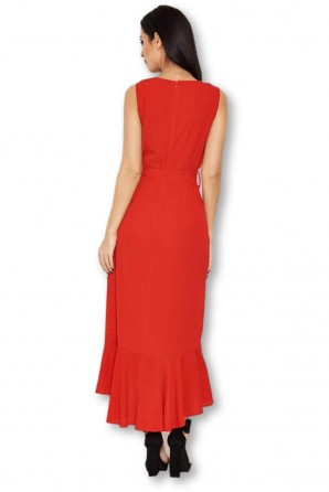 Women's Red Frill Wrap Dress