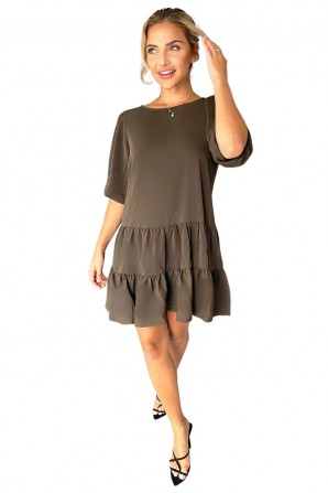 Women's Olive Frill Swing Dress