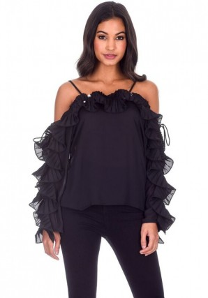 Women's Black Frill Detail Off The Shoulder Top