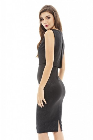 Women's Cropped Overlay Shimmer Midi Black Dress