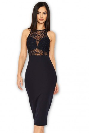 Women's Navy Midi Dress With Lace Top