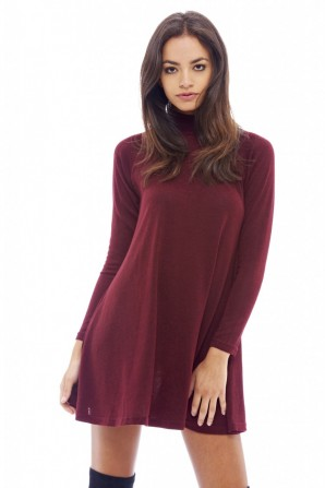 Women's Turtle Neck Swing Wine Dress