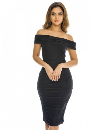 Women's Off Shoulder Ruched  Black Dress