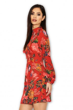 Women's Red Floral Long Sleeve Frill Dress