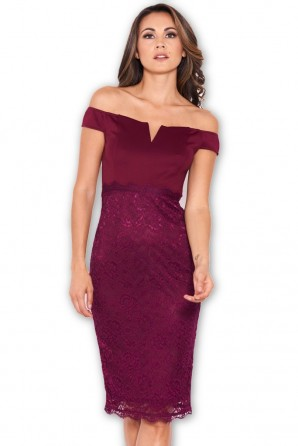 Women's Plum Notch Front Lace Detail Midi Dress