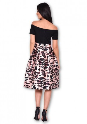 Women's Animal Print 2 In 1 Off Shoulder Midi Dress