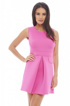 Women's Scuba Pleated Cerise Dress