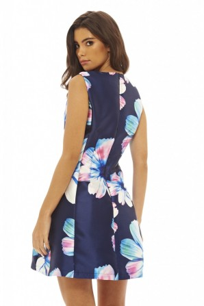 Women's Bold Floral Skater  Navy Floral Dress
