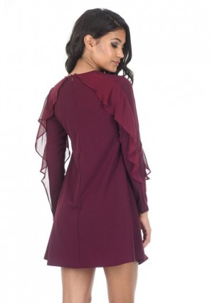 Women's Plum Long Sleeve Frill Detail Swing Dress