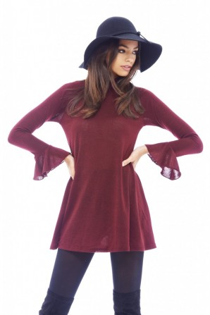 Women's Long Sleeved Ruffled Cuff Swing Wine Dress