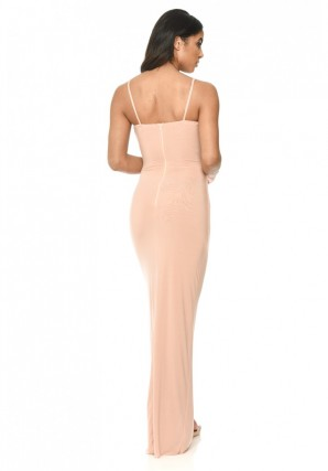 Women's Champagne Strappy Floor Length Dress