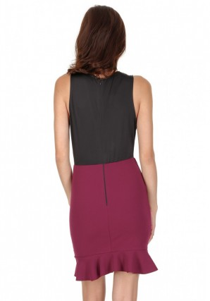 Women's Black and Plum 2 in 1 Mini Dress