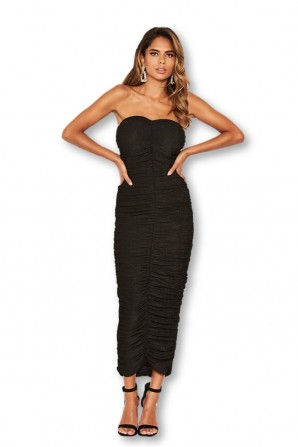 Women's Black Strapless Ruched Bodycon Midi Dress