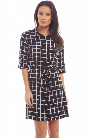 Women's Check Blouse Black Dress