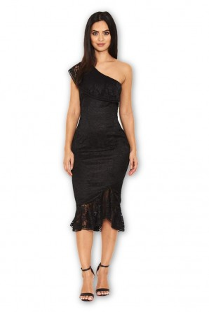 Women's Black Lace One Shoulder Frill Detail Midi Dress