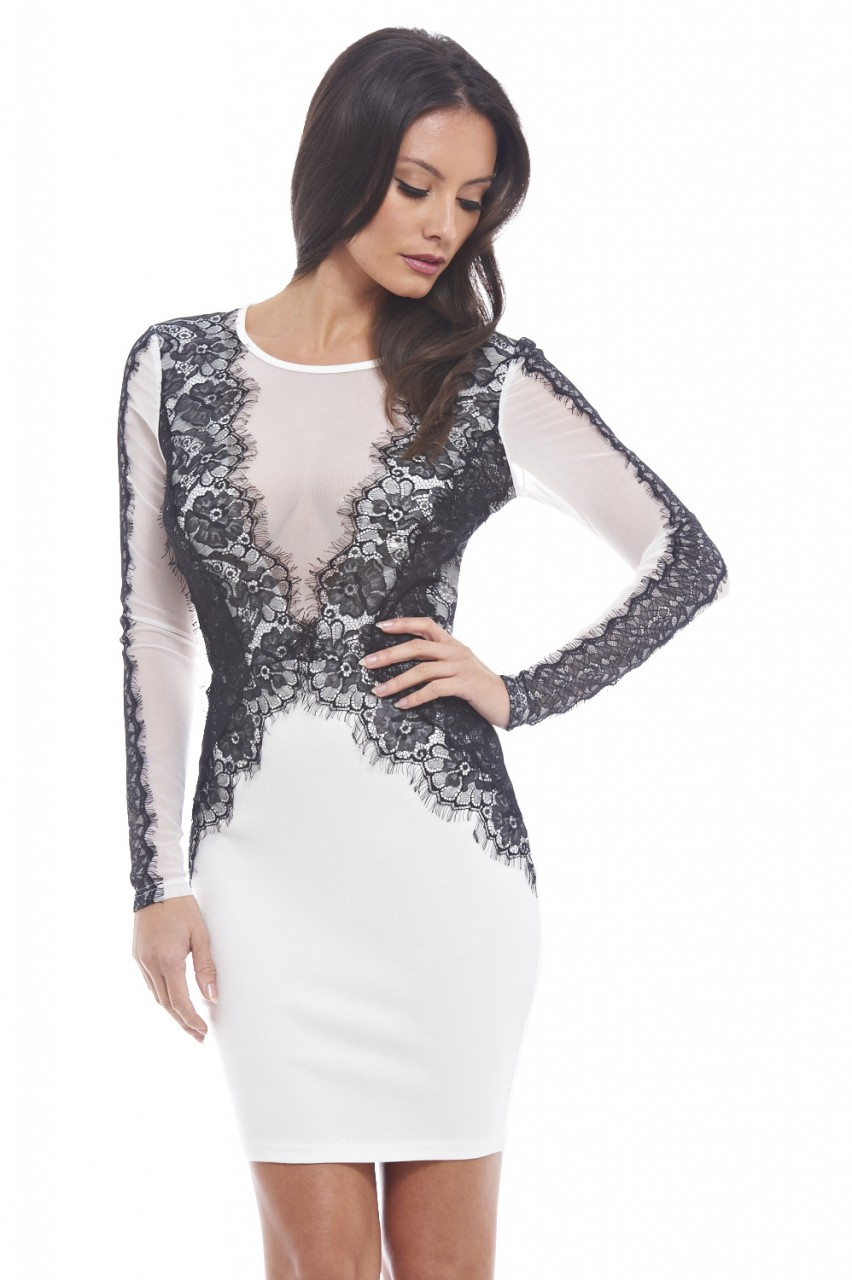a2ccf6a3a536a Womens Lace Detailed Bodycon Cream Dress - Dresses on Sale
