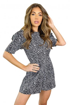Women's Black Printed Short Frill Sleeve Romper