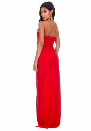Women's Red Notch Front Maxi Dress