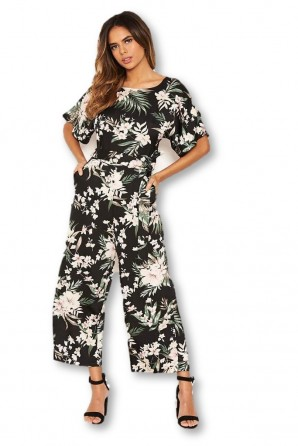 Women's Black Floral Crew Neck Culotte Jumpsuit
