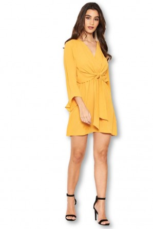 Women's Yellow Tie Front Day Dress