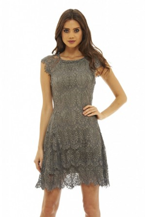 Women's Capped  Sleeve  Crocheted  Lace  Grey Dress