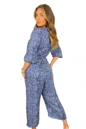 Women's Blue Printed Wrap Over Belted Jumpsuit