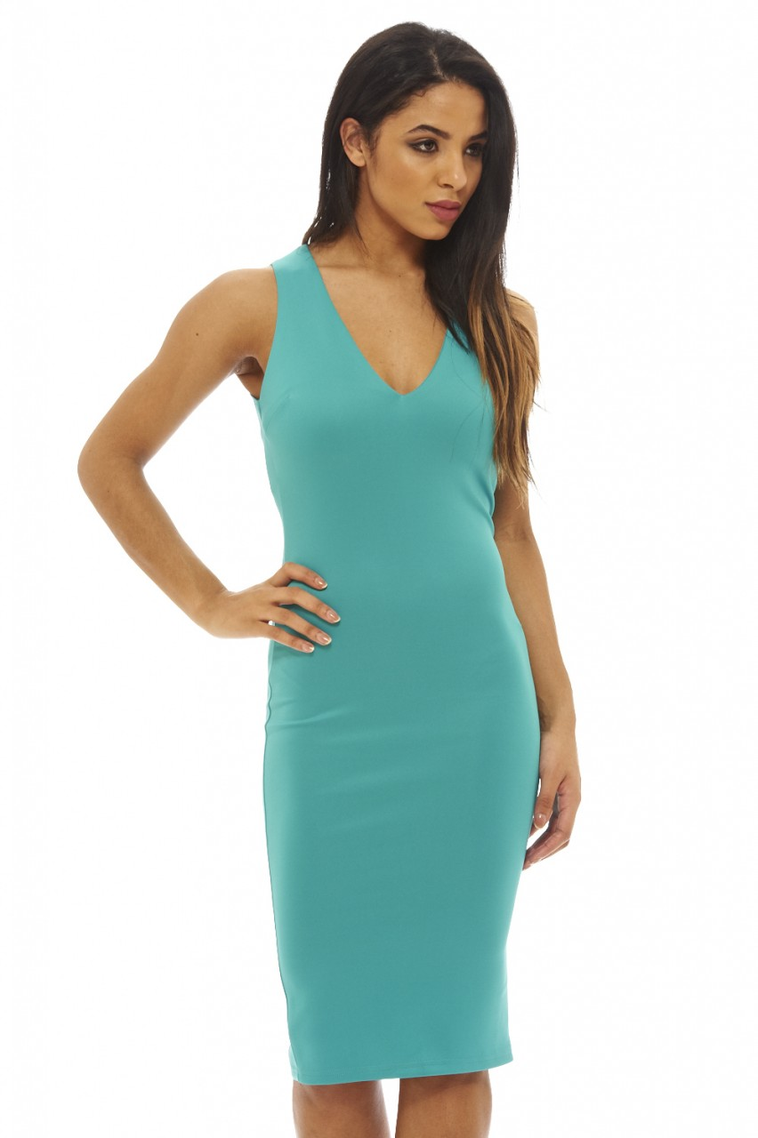 Women\'s V Neck Bodycon Aqua Dress - AX Paris USA-Fashion Dresses ...