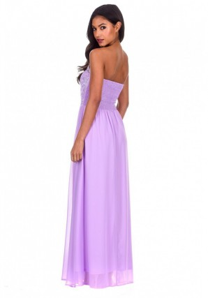 Women's Lilac Crochet Bandeau Top Maxi Dress