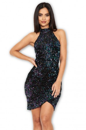 Women's Black Sequin High Neck Bodycon Dress