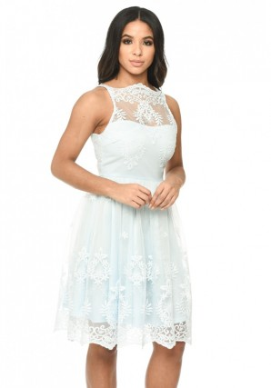 Women's Blue Lace Detail Dress With Full Skirt
