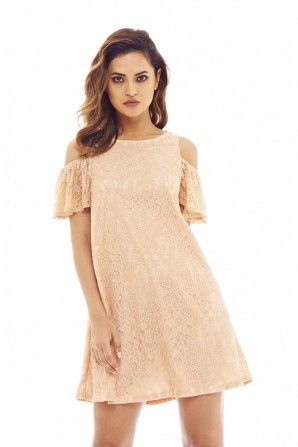 Women's Lace Cold Shoulder Swing  Blush Dress