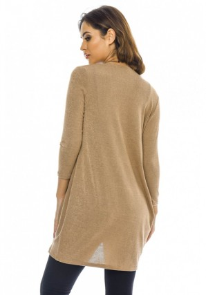 Women's Wrapped Front Knitted  Camel Top