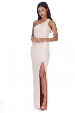 Women's Nude Asymmetric Maxi Dress