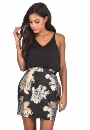 Women's Black 2 in1 Floral Metallic Mini Dress