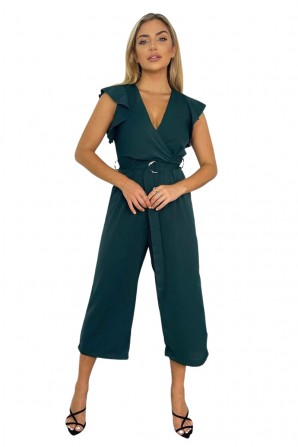 Women's Teal Wrap Front Belted Jumpsuit
