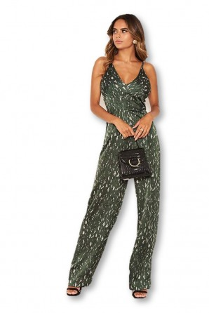 Women's Green Printed Satin Wide Leg Jumpsuit