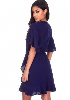 Women's Navy Frill Floral Embroidery Dress
