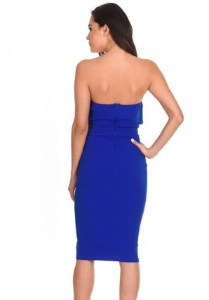 Women's Blue Notch Front Bodycon Dress