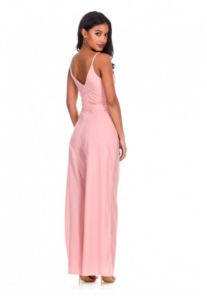 Women's Blush Wide Leg Thigh Split Jumpsuit